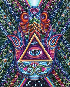 Hamsa Hand Art Print by John Speaker - X-Small Art Hippie, Hamsa Art, Typographie Inspiration, Psychadelic Art, Psy Art, Dope Art, Visionary Art, Sacred Art, Fractal Art