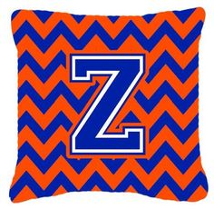 Letter Z Chevron Orange and Blue Fabric Decorative Pillow CJ1044-ZPW1414