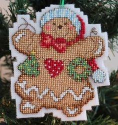Cross Stitch Christmas Ornament - Gingerbread Girl with Garland