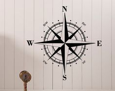 Nautical Compass Rose Wall Decal North South West East Bedroom Decor- Compass Rose Vinyl Wall Decal For Living Room Bedroom Nursery C046