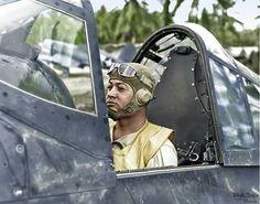 Pappy Boyington in his F4U Corsair