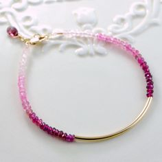 Modern Pink Ombre Bar Bangle Bracelet Genuine Gemstone Rhodolite Garnet Minimalist Gold Filled Jewelry Complimentary Shipping. $87.00, via Etsy.