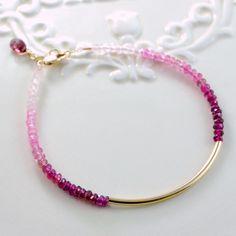 Modern Pink Ombre Bar Bangle Bracelet Genuine Gemstone Rhodolite Garnet Minimalist Gold Filled Jewelry Complimentary Shipping. $87.00, via Etsy.