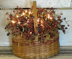 Primitive Lighted Berry Basket by WillowBPrimitives on Etsy, $48.00