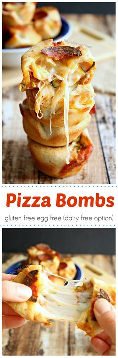 Pizza Bomb Bites (gluten free egg free, dairy free option)- Pizza pockets filled with gooey cheese and vegetables paleo lunch egg Gluten Free Appetizers, Gluten Free Pizza, Gluten Free Cooking, Paleo Pizza, Paleo Vegan, Vegan Gluten Free, Lactose Free, Pizza Bomb, Egg Free Recipes