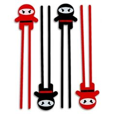 Not every young grasshopper can master the art of the chopsticks right away. But for those determined to learn, there are Ninja Warrior Kids Chopsticks! Now you can add to the ninja theme of your party and mask your inability to coordinate your fingers to eat noodles and other delicious ninja food. Product Highlights:  6 chopsticks per pack, 3 red and 3 black. Flexible, lightweight plastic construction. Great party favors, too! Overall length: 10.75""