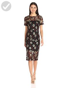 Donna Morgan Women's Floral Embroidered Mesh Midi, Black/Costume, 4 - All  about