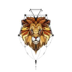 New work mixing #aztec style, #lowpoly art and #geometric art to create this version of a wild #lion as a #totem for a #tattoo #digitalart #vector #lowpolyart #maya
