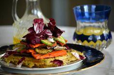 Wafles de yamani y mijo con vegetales