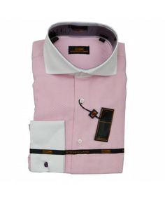 SPREAD COLLAR TWO TONE SHIRT-PINK & WHITE