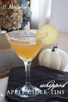 Whipped Cream Apple Cider Martinis from 11 Magnolia Lane~ perfect for fall!  Mix 2 parts whipped cream vodka, 1 part Buttershots liqueur, and 2 parts apple cider (adjust to taste), shake well in a shaker with crushed ice.  Pour into a chilled glass rimmed with cinnamon sugar and garnish with an apple slice.  To die for Fall drink!