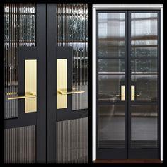 House Gate Design, Door Design, Wall Design, Partition Door, Reeded Glass, Modern Exterior Doors, Bungalow Interiors, Glass Office, Inside Doors