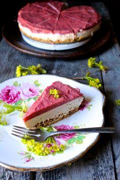 Roasted Rhubarb + Vanilla Cream Raw Pie