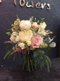 Wedding Bouquet: White Peonies, Sweet Avalanche, White lisianthus, White Freesias, Blush Pink Astilby, White Astrantia, Eucalyptus, Limonium, Silver crest