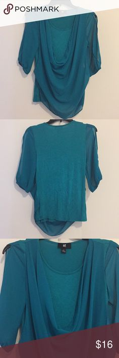 Cold Shoulder Turquoise Top Cold shoulder top by Iz Byer, size Small. Dark turquoise color. Has sheer cowl neck overlay. Iz Byer Tops Blouses