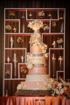 A grand and luxurious wedding cake.