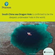 Latest exploration revealed that the legendary blue hole in the South China Sea is 300.98 meters deep. This is far deeper than the previous record holder, Dean's Blue Hole in the Bahamas. #Amazingfacts