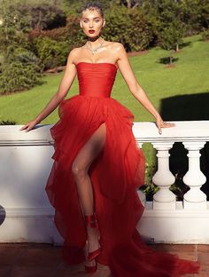 Sexy red high slit strapless dress,party dress,red evening dress, Shop plus-sized prom dresses for curvy figures and plus-size party dresses. Ball gowns for prom in plus sizes and short plus-sized prom dresses for Elegant Dresses, Pretty Dresses, Sexy Dresses, Beautiful Dresses, Fashion Dresses, Long Dresses, Fashion Fashion, Red Formal Dresses, Petite Fashion