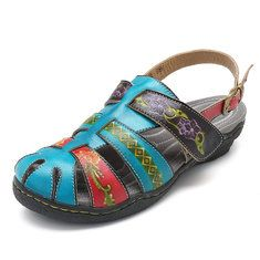 High-quality SOCOFY Bohemian Handmade Leather Adjustable Hook Loop Soft Sandals - NewChic Mobile