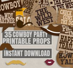 35 Old West party printables photo booth props cowboy party