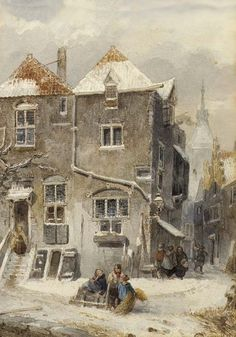 A View of a Snow Covered Town oil on canvas by Salomon (Samuel) Leonardus Verveer, Dutch, 1813-1876.