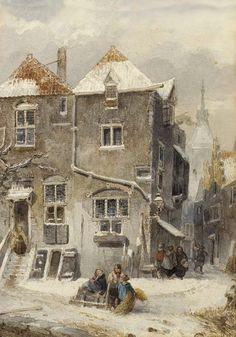A View of a Snow Covered Town oil on canvas by Salomon (Samuel) Leonardus Verveer, Dutch, 1813-1876.