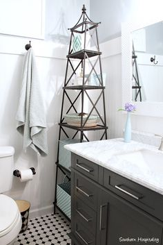 classic black and white bathroom redo