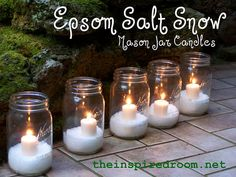 Epsom Salt Mason Jar Candles: These are totally for the grownups. It looks like snow, but it's not! Just some Epsom salt, glass jars, and candles. Add them to the mantle of your fireplace or as a centerpiece for a dinner party.