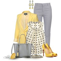 Like this but would rather go more casual with cute yellow flats and no jacket! Sunshine and Grey Skys by chloe-813 on Polyvore