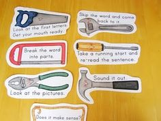Reader's tool box. Tools to assist a reader who is struggling with a word.