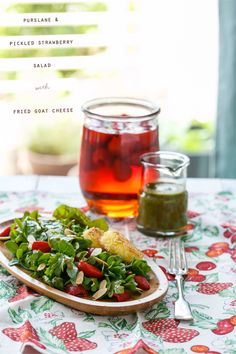 Hankering for a truly unique salad? Try this Purslane and Pickled Strawberry Salad with Fried Goat Cheese.