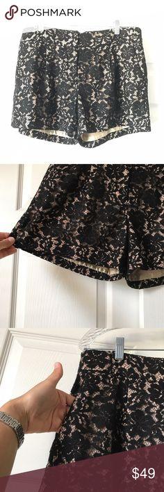 BCBGMaxAzria  Black Lace Pia Shorts  Sz 8 Black floral Lace over crime... excellent condition BCBGMaxAzria Shorts