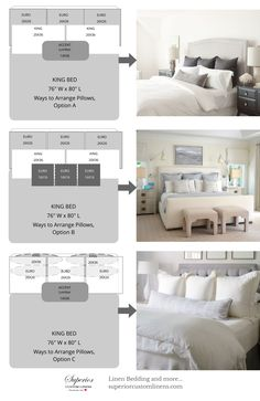 3 Ways to Arrange Pillows on King size bed.
