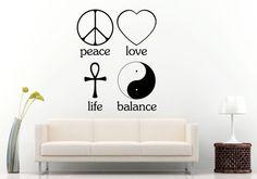 Peace Love Life Balance Signs Logos Emblems Heart Crest Wall Decal Vinyl Sticker Mural Room Decor L1232