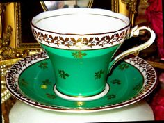 AYNSLEY TEA CUP AND SAUCER LIME GREEN & GOLD CHINTZY CORSET SHAPE TEACUP