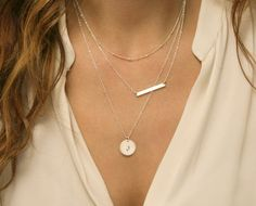 Skinny Bar Layer Necklace Set / Small Silver or by LayeredAndLong