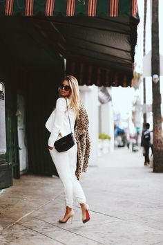 leopard blazer with all white outfit