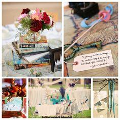 I like hte stack of travel books Travel-inspired Wedding Details