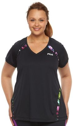 Plus Size FILA SPORT® Colorblock V-Neck Workout Tee >>> Check out this great product.