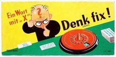 Denk fix, ein lange Zeit weit verbreitetes Spiel. Aufgabe der Spieler ist es, auf verschiedene Fragen möglichst schnell eine Antwort zu finden, die mit dem Buchstaben beginnt, der per Zufall durch eine Drehscheibe bestimmt wird. Dieses Spiel habe ich noch!