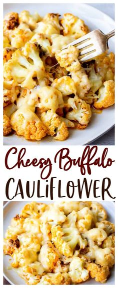 Cheesy Buffalo Cauliflower Bites - covered in spicy Buffalo sauce and melted sharp cheddar cheese, this Cheesy Buffalo Cauliflower Bites recipe is addicting. This easy recipe can be enjoyed as an appetizer, snack, or side dish. Recipe For Loaded Cauliflower, Chicken Cauliflower Casserole, How To Cook Cauliflower, Vegan Buffalo Cauliflower, Carbs In Cauliflower, Baked Cauliflower Bites, Vegetable Side Dishes, Vegetable Recipes, Vegetarian Recipes