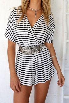 Stylish V-Neck Short Sleeve Striped Women's Romper