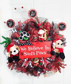 Dog Wreath, Dog Christmas Wreath, Holiday Dog Wreath, Pet Christmas Wreath, Santa Paws, Santa Wreath, Christmas Wreath, Holiday Wreath by Splendid Homecrafts on Etsy