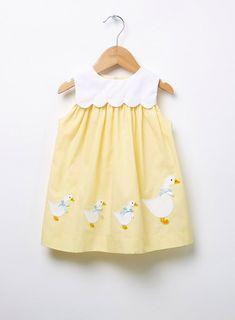Lemon Little Petal Duck Dress Girls Easter Dresses, Dresses Kids Girl, Little Dresses, Kids Outfits, Nice Dresses, Baby Girl Dress Patterns, Baby Dress Design, Dress For Girl Child, Toddler Dress
