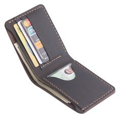 This Men's leather wallet Three cardslots for cards, one large inner pocket for money, one receipt pockets for checks, separate bills, or more cards.. It's perfect for someone looking for a unique gift for husbands ,fathers, boyfriends, groomsmen or yourself.