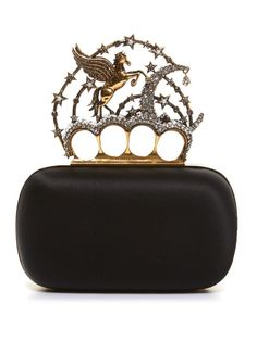 Alexander McQueen Flying-unicorn satin knuckle clutch