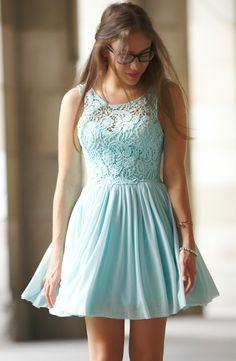 lacy baby blue dress