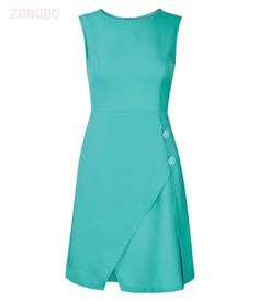 This sleeveless **Bally** dress employs traditional shoulder epaulettes, two slant pockets and black button closures through the centre-right. Simple Summer Dresses, Trendy Dresses, Casual Dresses, Short Dresses, Fashion Dresses, Dresses For Work, Casual Outfits, Office Outfits Women, Plain Dress