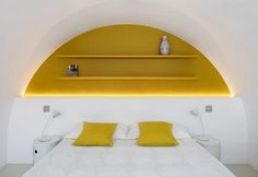 A pop and minimal bedroom in a house of Barbican Centre, London