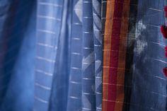 Silver zari glitters on this attractive blue khadi cotton sari from Ssaha #sari #khadi #cotton #jamdani #parisera